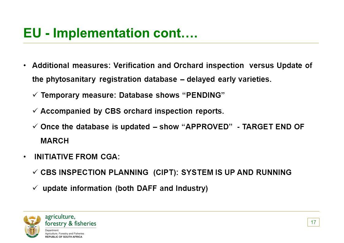 EU - Implementation cont….