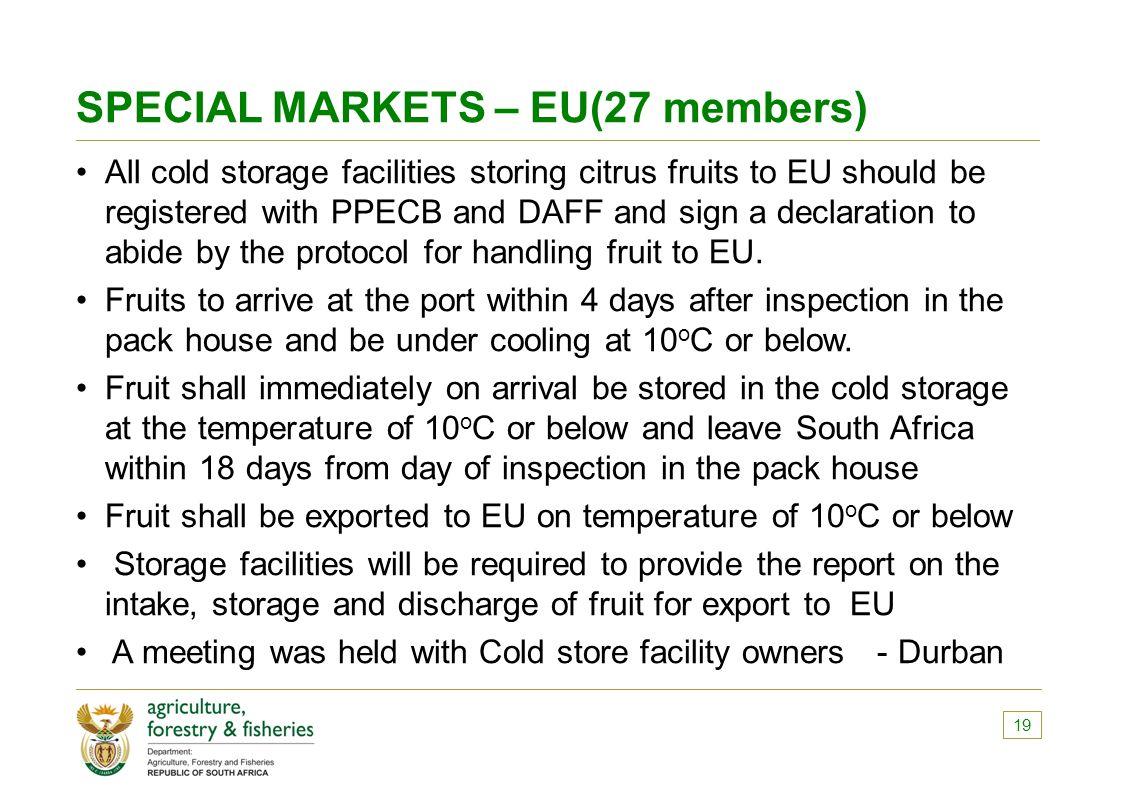SPECIAL MARKETS – EU(27 members)