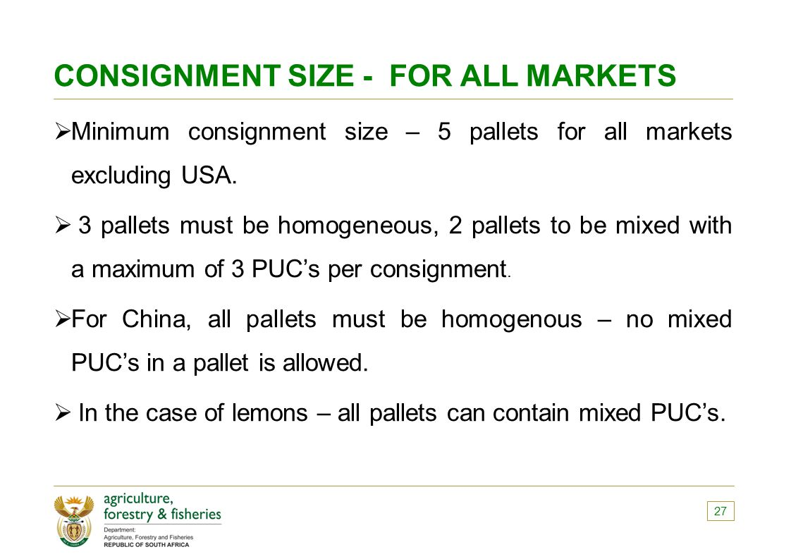 CONSIGNMENT SIZE - FOR ALL MARKETS