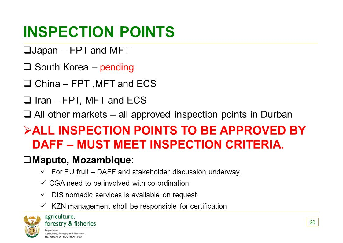 INSPECTION POINTS Japan – FPT and MFT. South Korea – pending. China – FPT ,MFT and ECS. Iran – FPT, MFT and ECS.