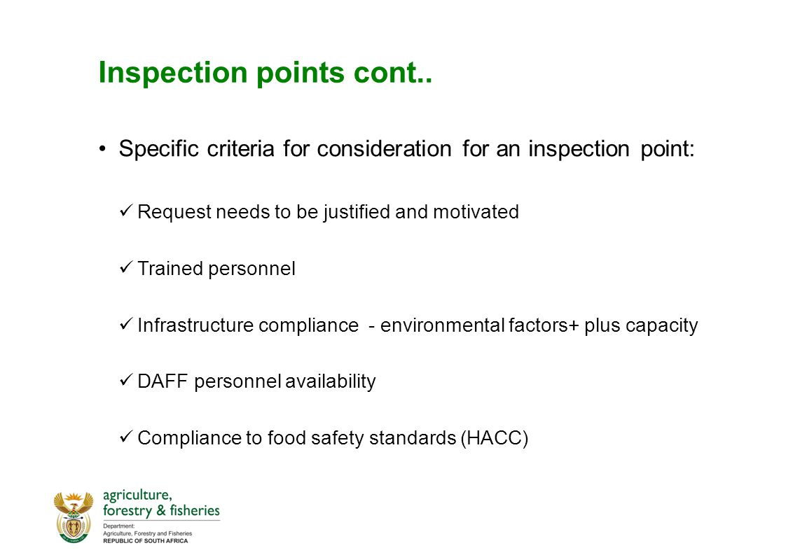 Inspection points cont..