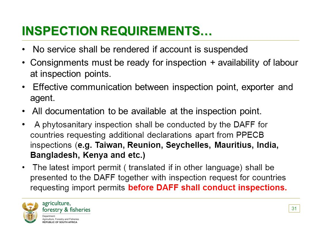 INSPECTION REQUIREMENTS…