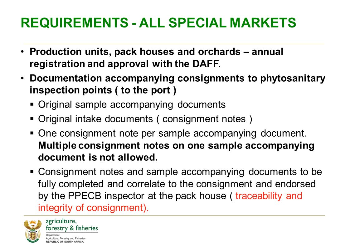 REQUIREMENTS - ALL SPECIAL MARKETS