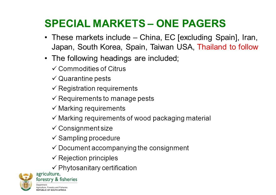 SPECIAL MARKETS – ONE PAGERS