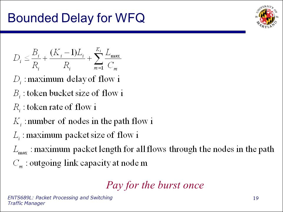 Bounded Delay for WFQ Pay for the burst once