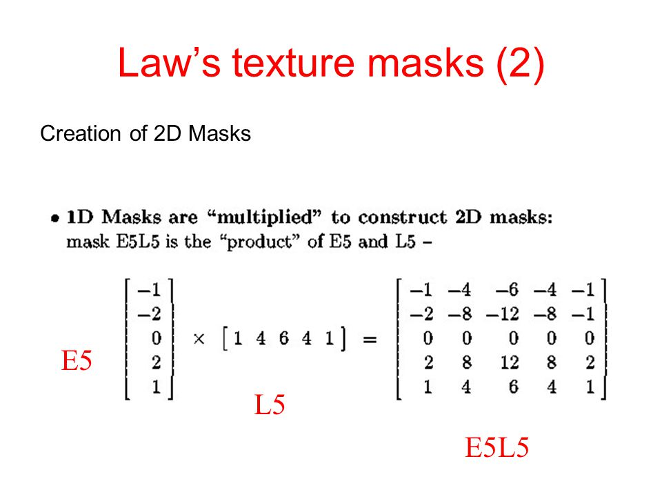Law's texture masks (2) Creation of 2D Masks E5 L5 E5L5