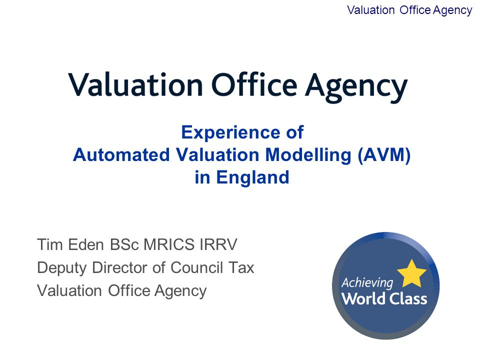 Experience of Automated Valuation Modelling (AVM) in England