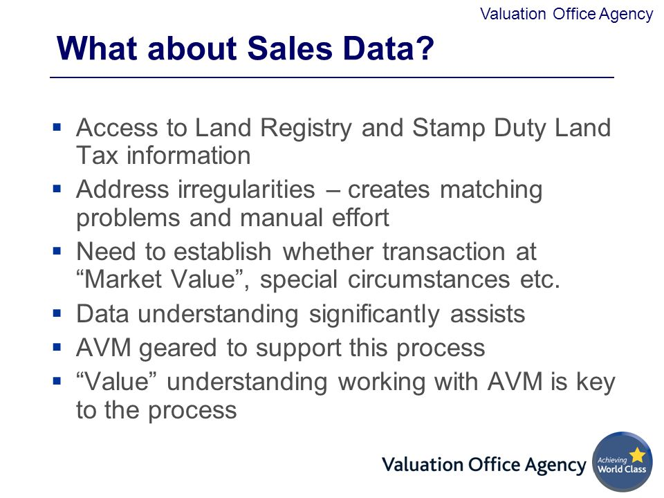 What about Sales Data Access to Land Registry and Stamp Duty Land Tax information.