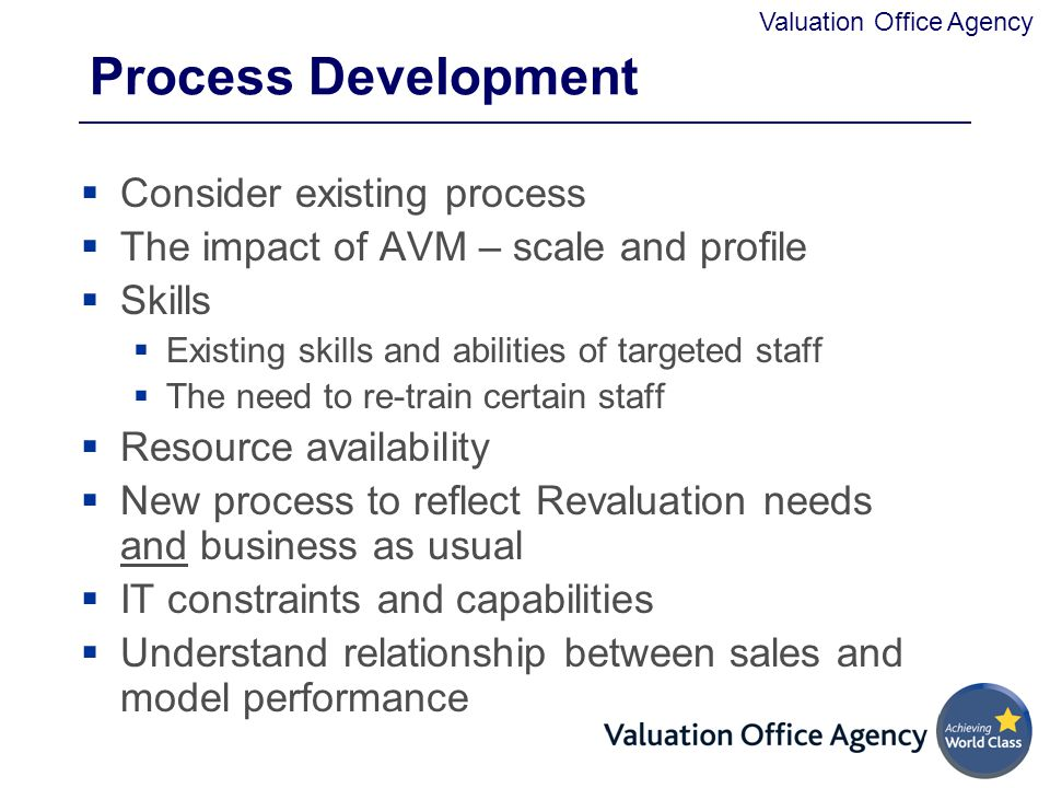 Process Development Consider existing process