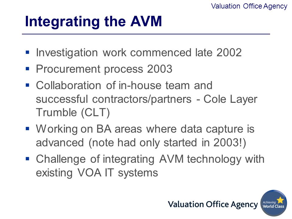 Integrating the AVM Investigation work commenced late 2002