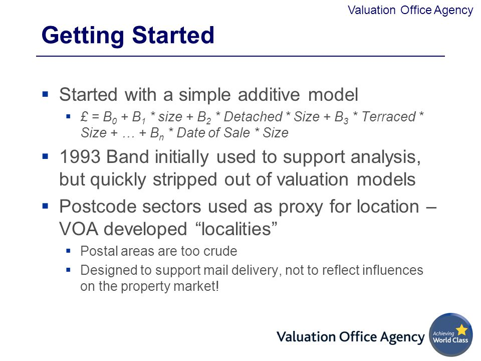 Getting Started Started with a simple additive model