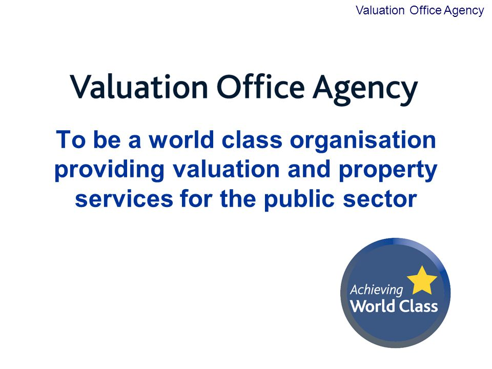 To be a world class organisation providing valuation and property services for the public sector