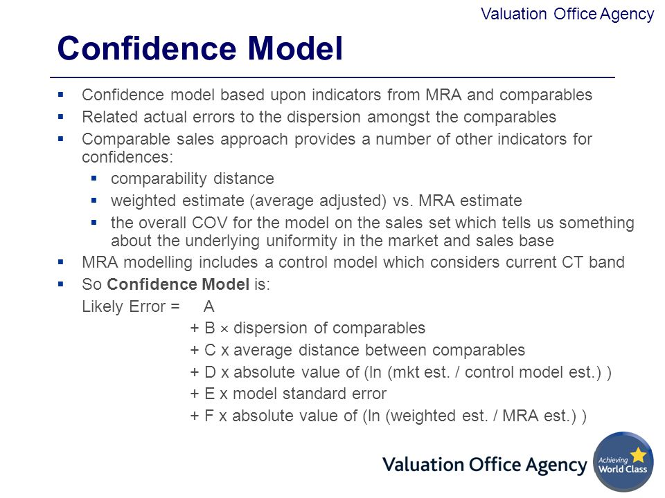 Confidence Model Confidence model based upon indicators from MRA and comparables. Related actual errors to the dispersion amongst the comparables.