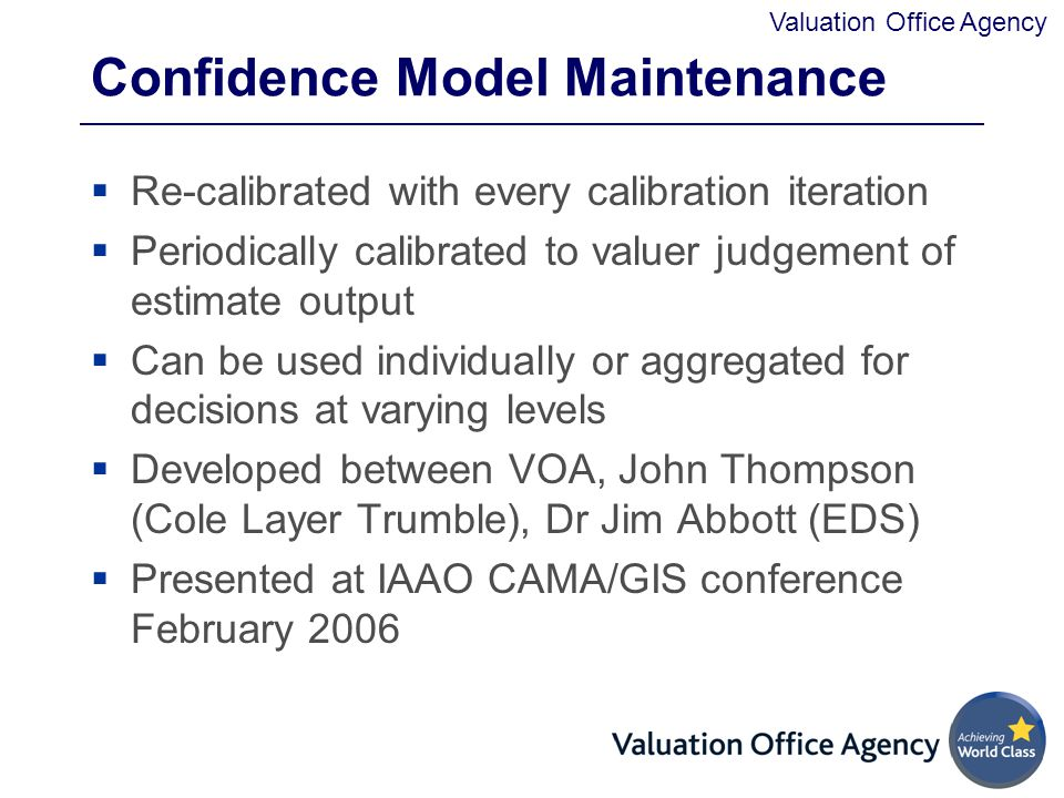 Confidence Model Maintenance