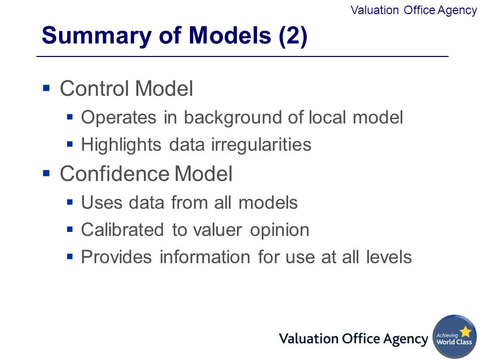 Summary of Models (2) Control Model Confidence Model