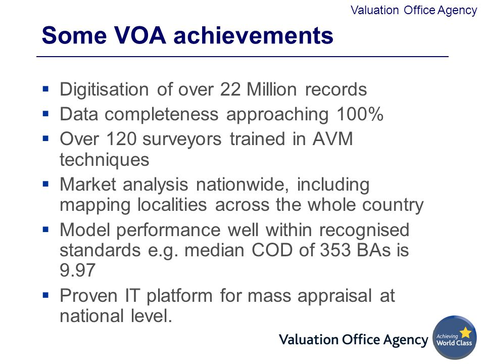 Some VOA achievements Digitisation of over 22 Million records
