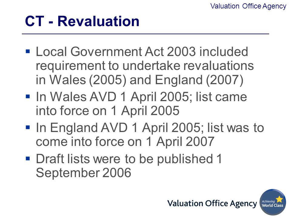 CT - Revaluation Local Government Act 2003 included requirement to undertake revaluations in Wales (2005) and England (2007)