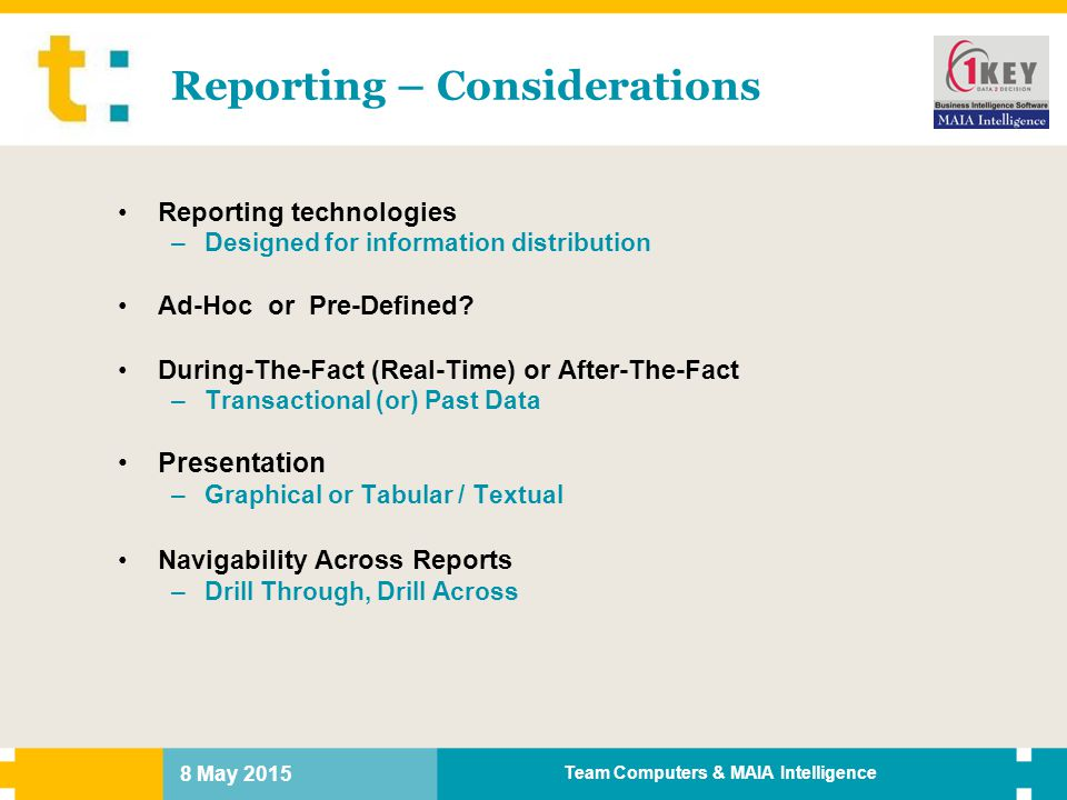 Reporting – Considerations