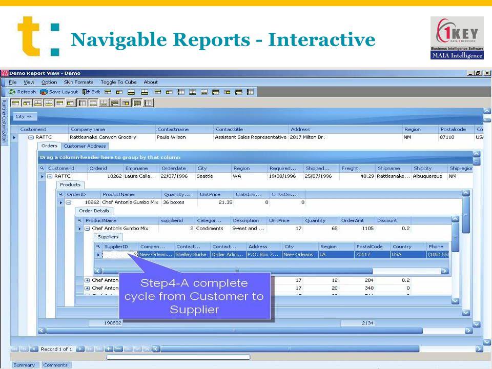 Navigable Reports - Interactive