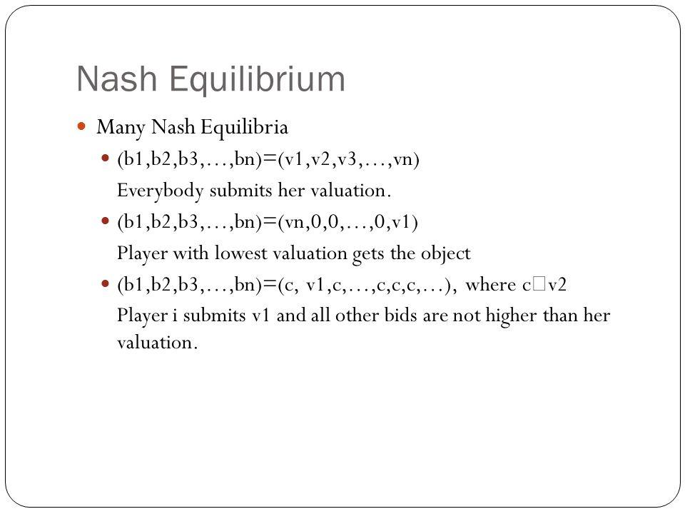 Nash Equilibrium Many Nash Equilibria (b1,b2,b3,…,bn)=(v1,v2,v3,…,vn)