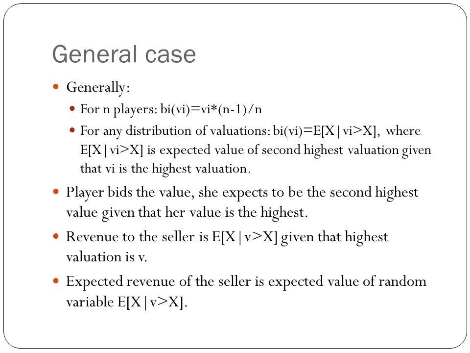 General case Generally: