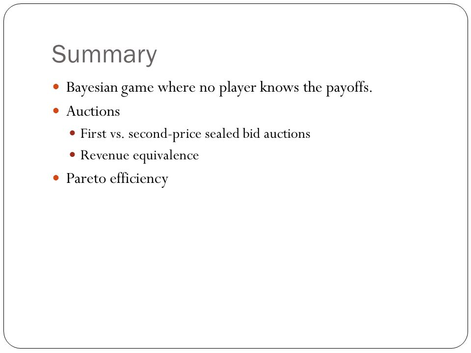 Summary Bayesian game where no player knows the payoffs. Auctions