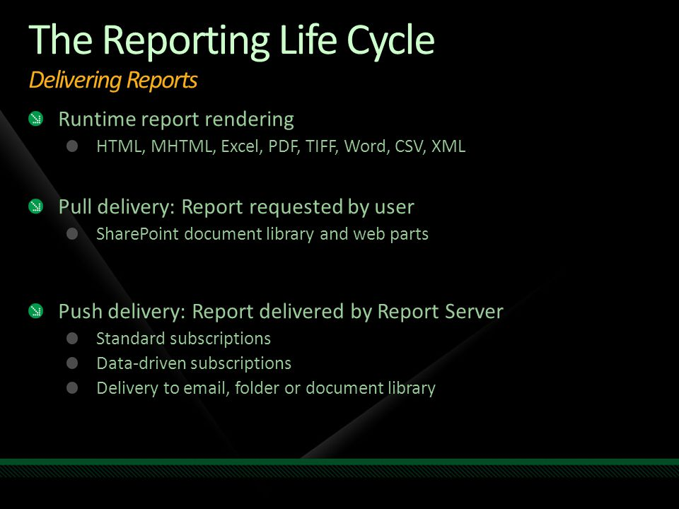 The Reporting Life Cycle Delivering Reports