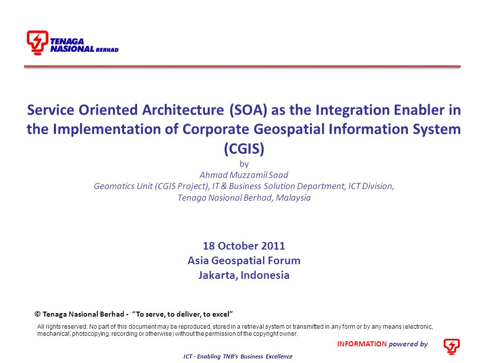 18 October 2011 Asia Geospatial Forum Jakarta, Indonesia