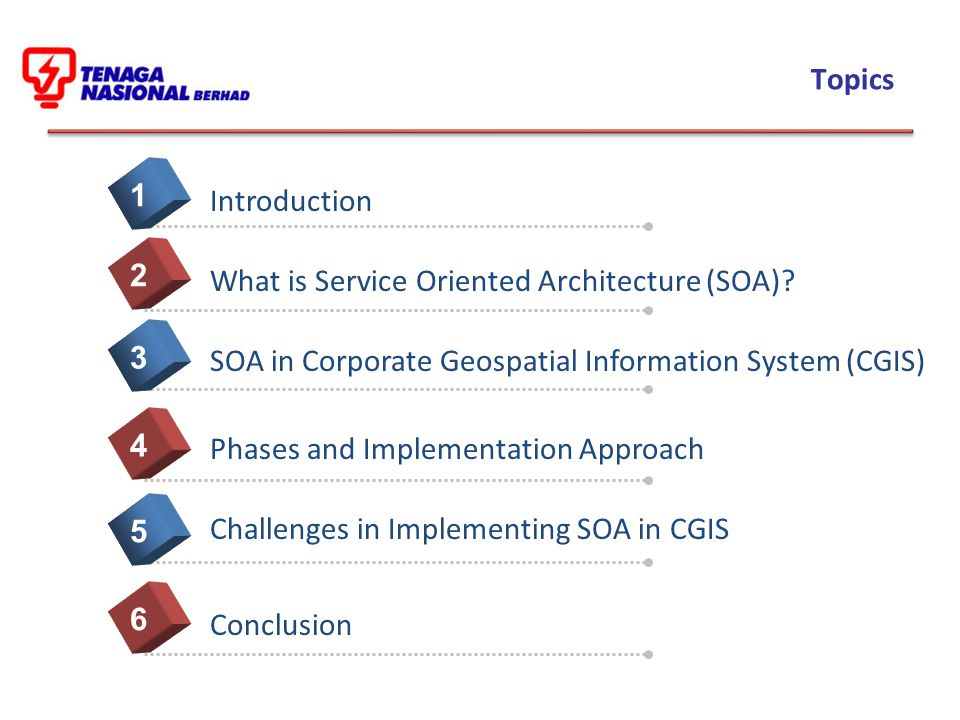 Topics Introduction. 1. What is Service Oriented Architecture (SOA) 2. SOA in Corporate Geospatial Information System (CGIS)