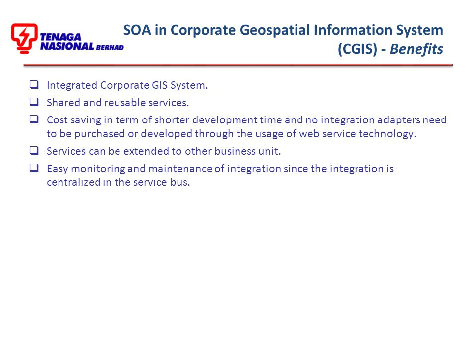 SOA in Corporate Geospatial Information System (CGIS) - Benefits