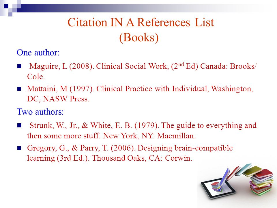 Citation IN A References List (Books)
