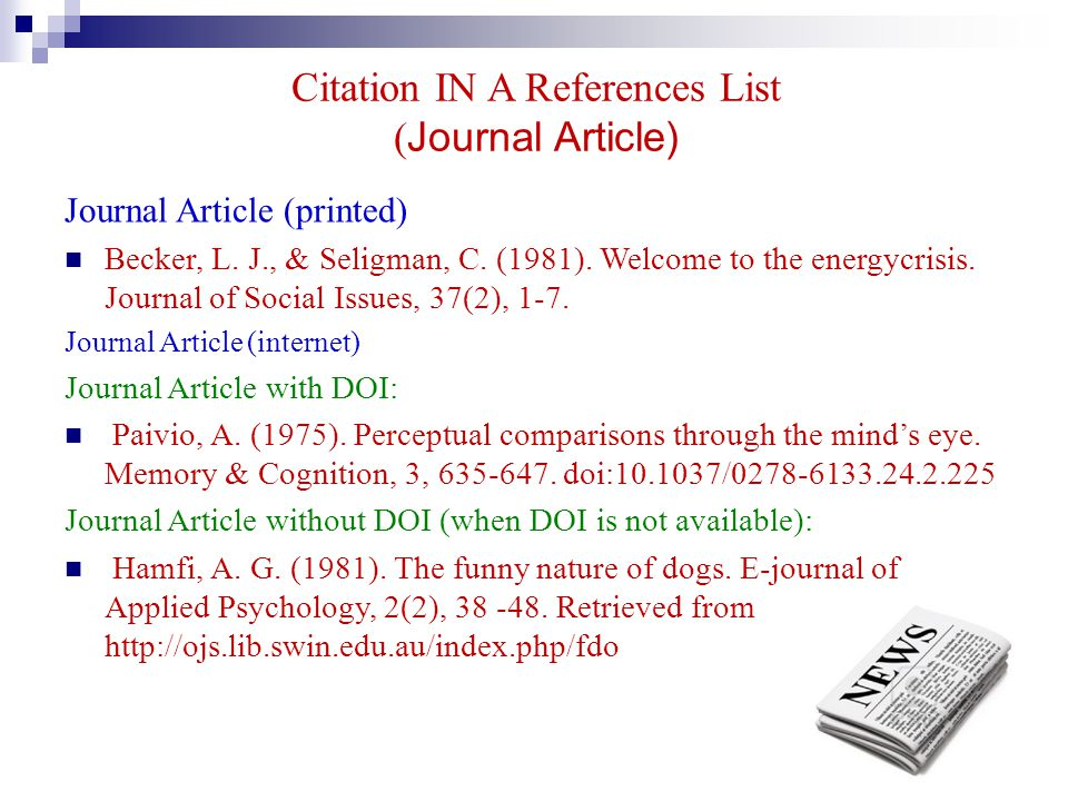 Citation IN A References List (Journal Article)