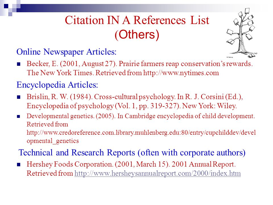 Citation IN A References List (Others)