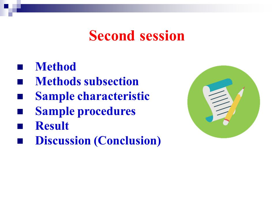 Second session Method Methods subsection Sample characteristic