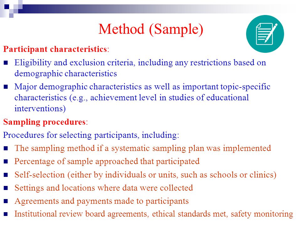 Method (Sample) Participant characteristics:
