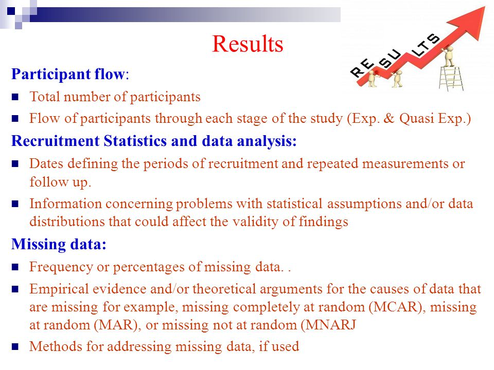 Results Participant flow: Recruitment Statistics and data analysis:
