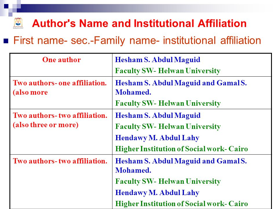 Author s Name and Institutional Affiliation