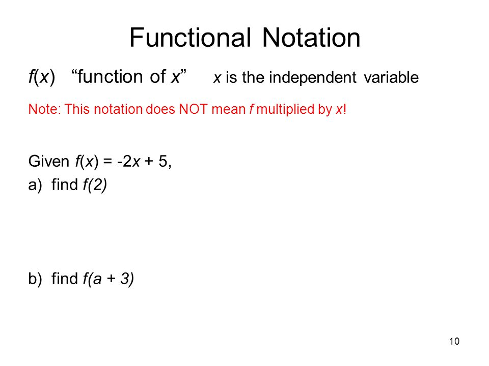 Functional Notation f(x) function of x x is the independent variable