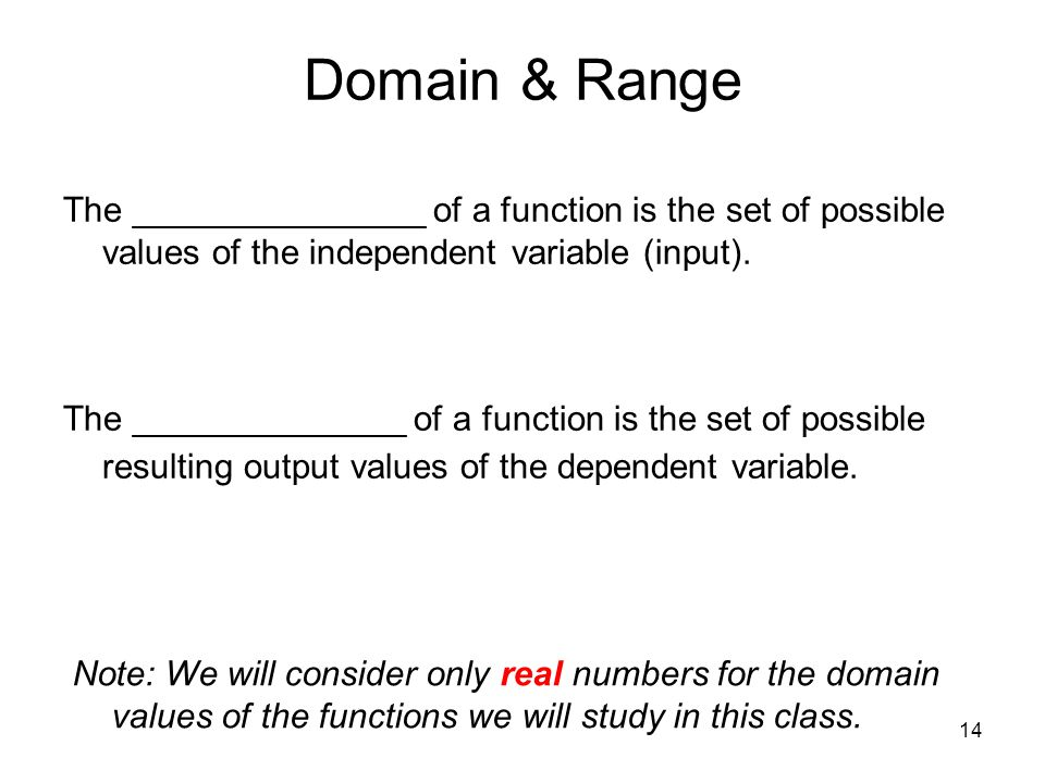 Domain & Range The _______________ of a function is the set of possible values of the independent variable (input).
