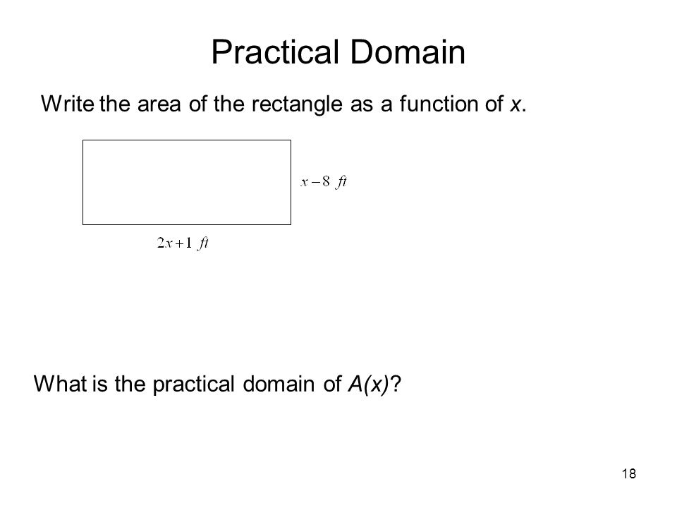 Practical Domain Write the area of the rectangle as a function of x.