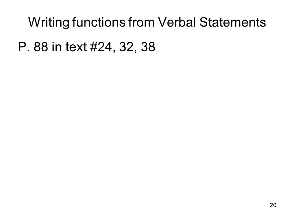 Writing functions from Verbal Statements