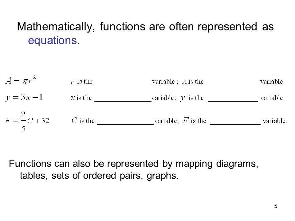 Mathematically, functions are often represented as equations.