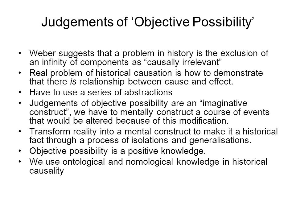Judgements of 'Objective Possibility'