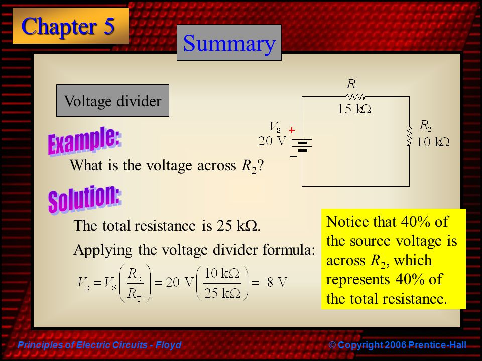 Summary Summary Example: Solution: Voltage divider