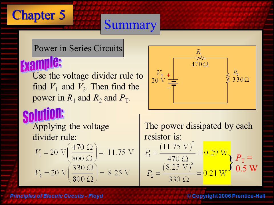 Power in Series Circuits