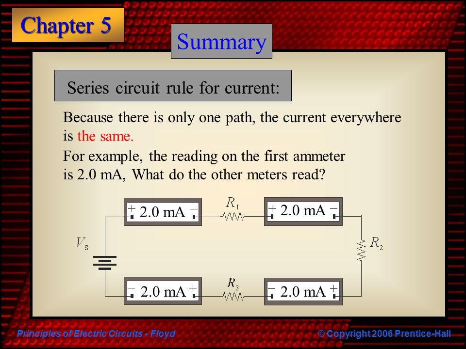 Summary Summary Series circuit rule for current: