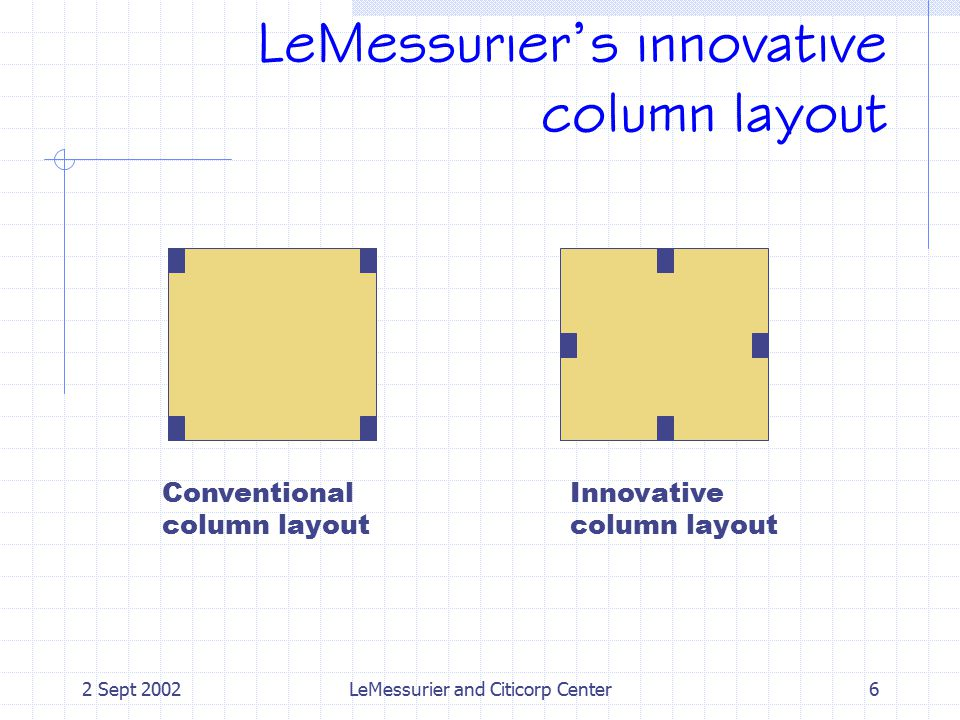 LeMessurier's innovative column layout