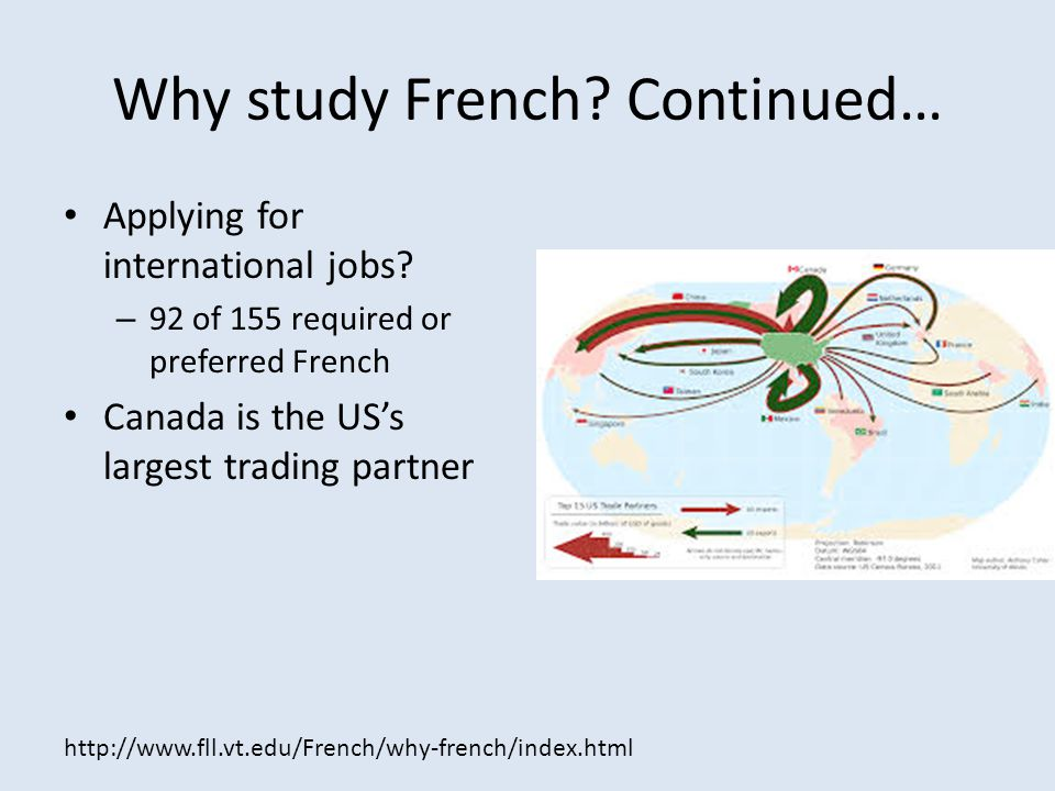 Why study French Continued…
