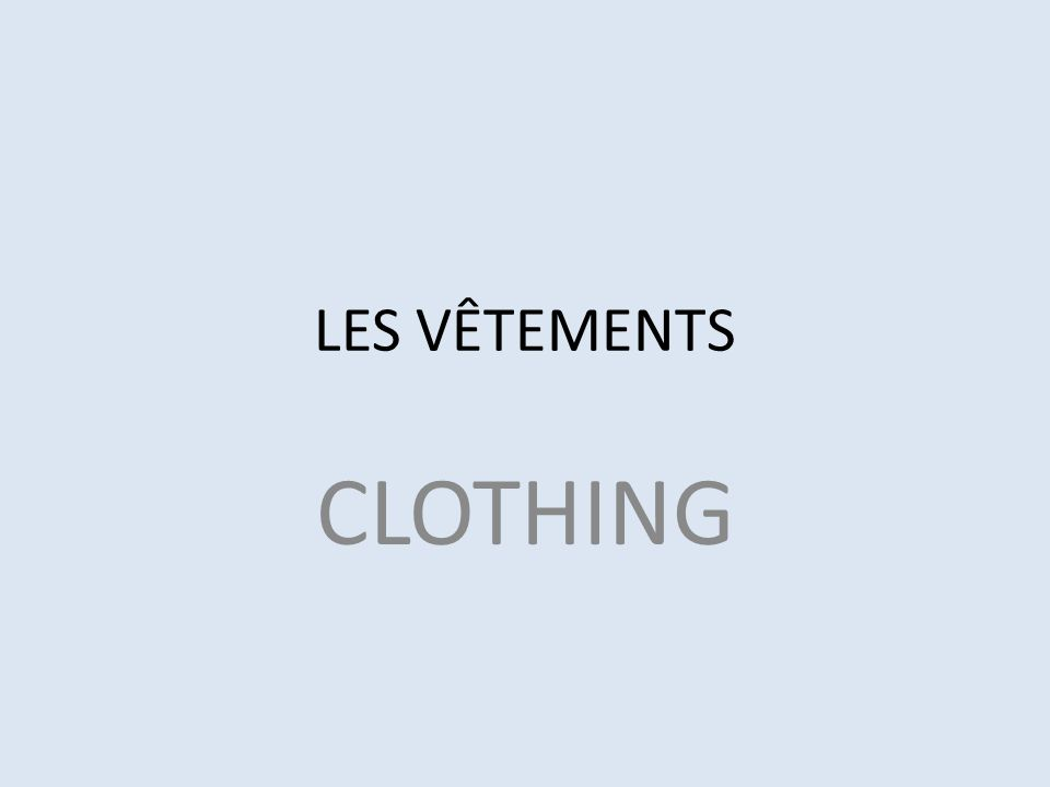 LES VÊTEMENTS CLOTHING