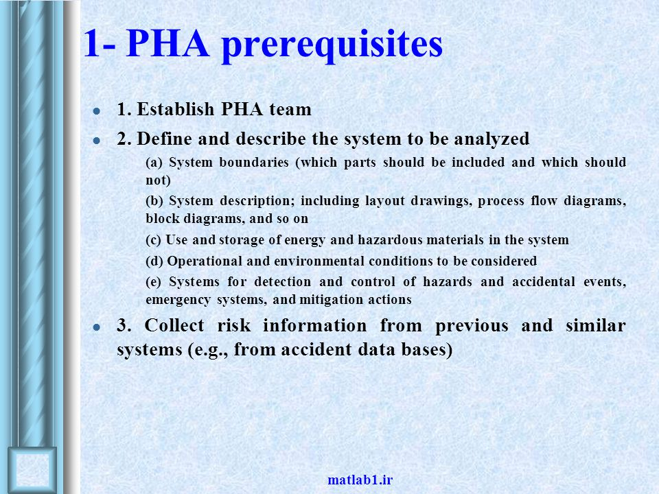 1- PHA prerequisites 1. Establish PHA team